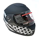 Motorcycle Full Face Helmet DOT Street Legal +2 Visors (Clear Shield and Free Smoked Shield) - Flag Patriot MATTE BLACK (Large)