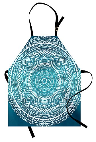 Ambesonne Turquoise Ombre Apron, Mandala Medallion Starry Design with Flower in Middle Ethnic Ethnic Art, Unisex Kitchen Bib Apron with Adjustable Neck for Cooking Baking Gardening, Dark Turquoise