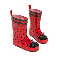 Kidorable Red Ladybug Natural Rubber Rain Boots With A Pull On Heel Tab