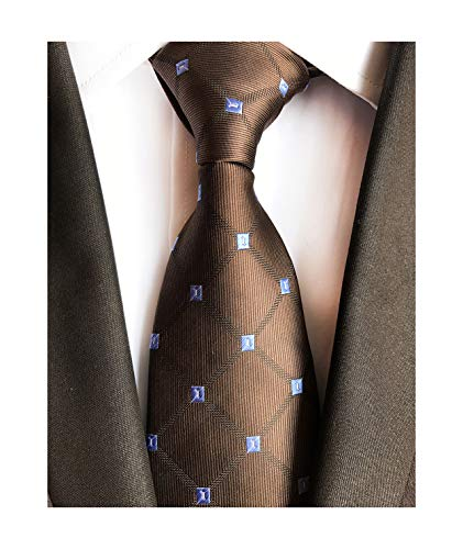 Dark Brown Holiday Neckties Check Silk Tie Suit Fitness Dating For Men Youth Boy