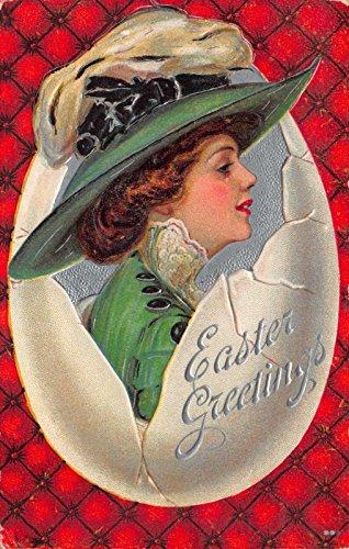 Easter Postcard (Christy Art Easter Postcard Woman Wearing Green in a Large Broken Egg~112762)