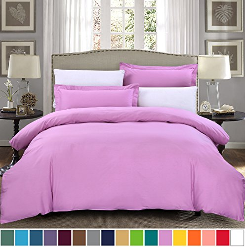 SUSYBAO 3 Pieces Duvet Cover Set 100% Natural Cotton Queen Size 1 Duvet Cover 2 Pillow Shams Mauve/Lavender Luxury Quality Soft Breathable Comfortable Fade Stain Wrinkle Resistant with Zipper Ties (Teen Vogue Duvet Covers)