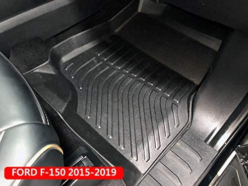 Floor Mats for Ford F150 SuperCrew 2015-2019 All Weather Guard 1st /& 2nd Row Mat TPE Slush Liners