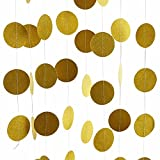 Glitter Gold Party Decorations Garland,Circle Paper Dots Hanging for Party decor 26 Feet Long