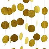 Image of Gold Glitter Paper Garland Circle Dots Hanging Decor Party Supplies - 2'' Diameter - 11.5 Feet ( 2Pcs )