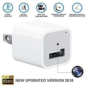 AnnBos Hidden Spy Security Nanny Camera, 1080P HD USB Wall phones Charger Adapter Motion Detection Mini Video Recorder - Home/Office Surveillance - Premium built UPGRADED VERSION 2018 32G not included