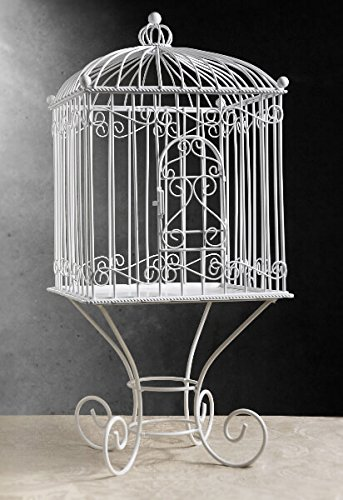 Wayhome Fair White Metal Vintage Birdcage Removable Stand 21in - Excellent Home Decor - Indoor & Outdoor ()
