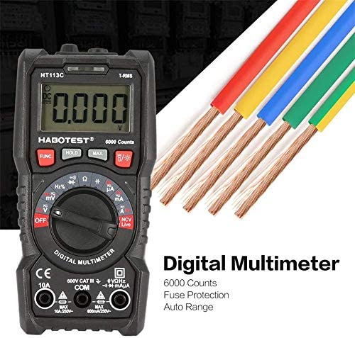 Zjcpow HT113C Mini Digital Multimeter,Auto Range 6000 Counts DC/AC Voltage Current Meter Handheld Voltmeter Ammeter Diode NCV with Backlight LCD and Flashlight xuwuhz