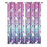 Blackout Window Kitchen Curtains Drapes, 2 Panels Set Window Treatment for Living Room/Bedroom/Office,Valentine's Day Friendship Romantic Unicorns with Rainbow Love Decorating Design, 55W by 39L inch