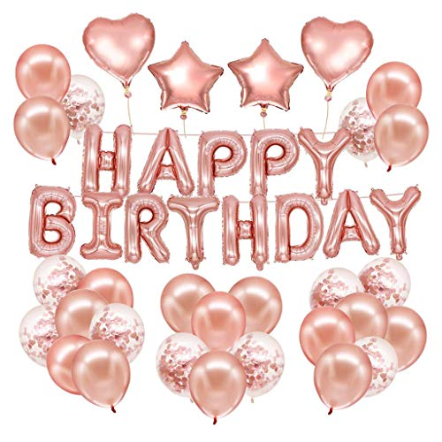 Clearance on Sales  Happy Birthday Decor Balloons Kit Rose Gold Birthday Banner Confetti Balloons by Clothful]()