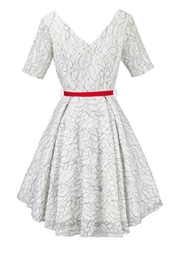YACUN Damen, 3 / 4 - Ärmel Vintage - Spitze Midi - Swing - Rockabilly Party - Kleid White