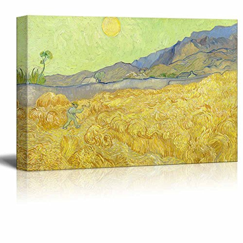 Wheatfield with a Reaper by Vincent van Gogh Print Famous Painting Reproduction