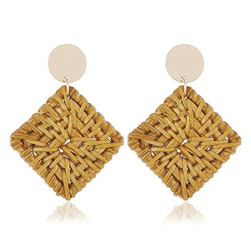 Textured Wide Band Ring - Showfay Rattan Earrings for Women Handmade Straw Wicker Braid Drop Dangle Ear Lightweight Geometric Boho Statement Earrings (G)