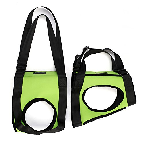 Lifeunion Dog Foreleg and Hind Rear Legs Sling Dog Lift Support Rehabilitation Harness for Elderly, Injured, Disable Pets, Help Stand Up, Up/Down Stairs, Get into Car (S, Green)