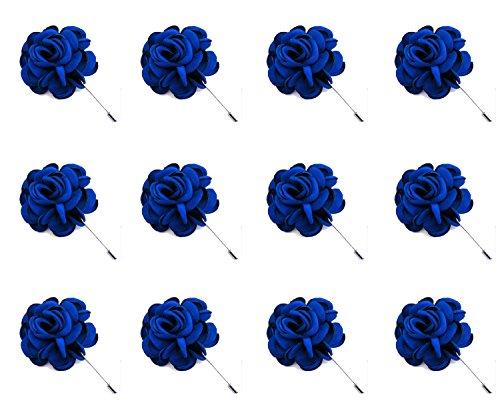 ZAKIA 12pcs Men's Flower Lapel Pin Brooch Handmade Boutonniere for Suit Wholesale Lot (Royal Blue)