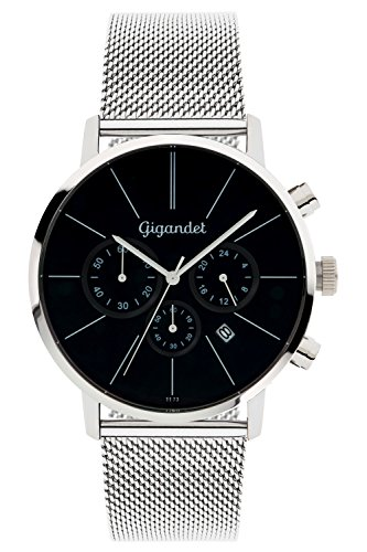 Gigandet-Herren-Armbanduhr-Minimalism-Quarz-Chronograph-Uhr-Datum-Analog-Edelstahlarmband-Schwarz-Silber-G32-006
