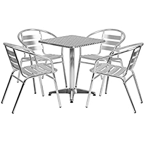 Flash Furniture Square Aluminum Indoor Outdoor Table with 4 Slat Back Chairs