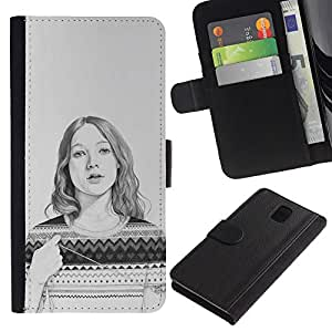LASTONE PHONE CASE / Lujo Billetera de Cuero Caso del tirón Titular de la tarjeta Flip Carcasa Funda para Samsung Galaxy Note 3 III N9000 N9002 N9005 / Sweater Pencil Drawing Portrait