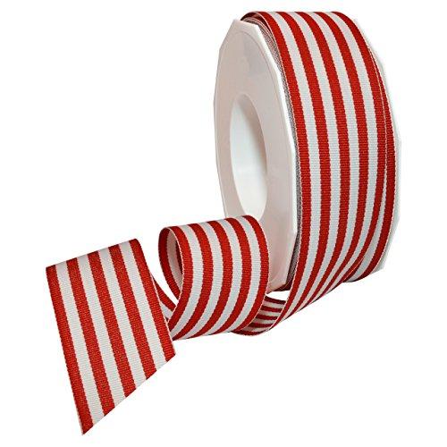 Polyester Grosgrain Ribbon - Morex Ribbon Polyester Grosgrain Striped Decorative Ribbon, Red, 1-1/2 in