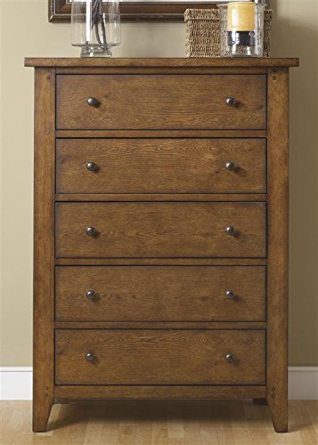 Liberty Furniture Hearthstone Bedroom 5-Drawer Chest, Rustic Oak Finish