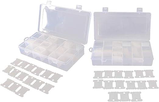 P Prettyia 2 Unids Caja de 18 Compartimentos + 240 Unids Bobinas Carretes de Hilo Organizador: Amazon.es: Hogar
