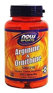 L-Arginine & Ornithine 500/250 mg 100 Caps NOW Foods