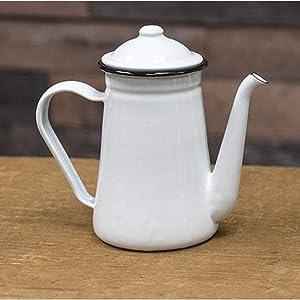 Black Rim Enamel Coffee Pot - Food, Oven and Dishwasher Safe, DO NOT MICROWAVE