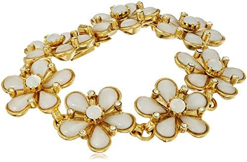 (Ben-Amun Jewelry Garden Escape Gold-Tone Swarovski Crystal Daisy Bracelet)