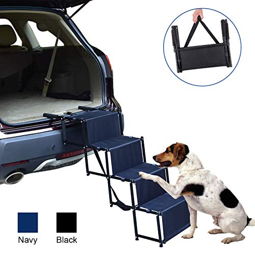 (CharaHome Dog Car Steps Pet Stairs Metal Frame Dog Pet Step Ramp for Dogs to Get in Car Folding Lightweight Collapsible Accordion Portable Dog Steps for Cars SUV High Bed 4 Steps Supports 100 lbs)