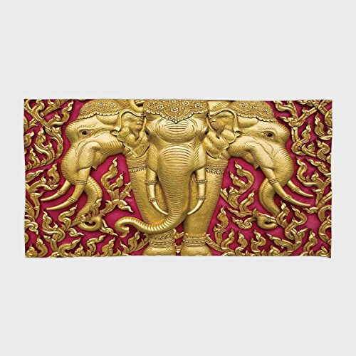 One Side Printing Hotel SPA Beach Pool Bath Hand Towel,Elephants Decor Elephant Carved Gold Paint on Door Thai Temple Spirituality Statue Classic,for Kids Teens and Adults by iPrint