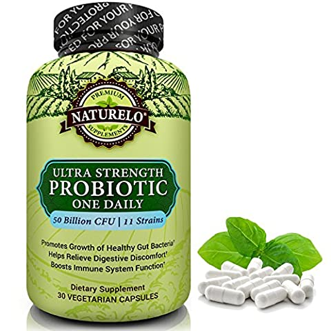 NATURELO Probiotic Supplement - Best for Digestive Health and Immune Support - Ultra Strength Probiotics - One A Day - 50 Billion CFU - 11 Strains - No Refrigeration Needed - 30 Vegetarian (Platinum No 1)