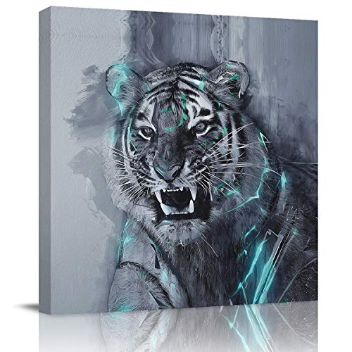 Canvas Wall Art Square Artwork Wall Decor,Hand Paintings Tiger with Sharp Teeth Animal Printed Art Paintings for Bedroom Living Room Office Hotel,Stretched by Wooden Frame,Ready to Hang,28 x 28 Inch ()
