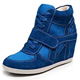 rismart Women's Wedge Casual Hook&Loop Fabric&Suede Leather Fashion Sneakers