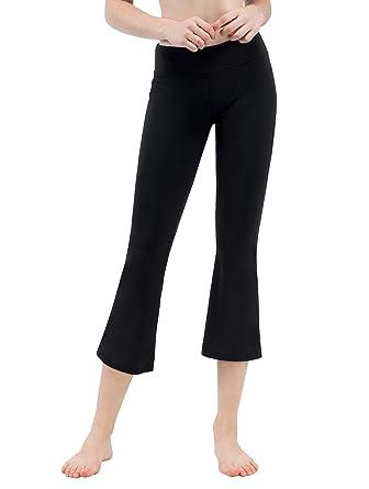 e5f0506cafe3c3 TaiBid Women's Yoga Bootleg Pants Workout Capris Inner Pocket, Black - S