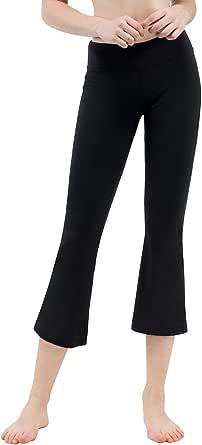 TAIBID Women's Yoga Bootleg Pants Workout Capris Inner Pocket, Size S-XXL