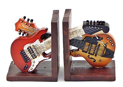 Bellaa 26249 Bookends Vintage Guitar Music Books Holder Gifts ()