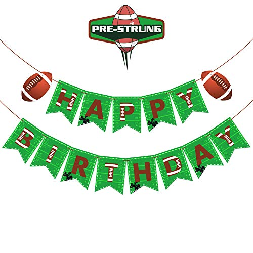Football Birthday Decorations - Football Themed Happy Birthday Banner Pre-strung