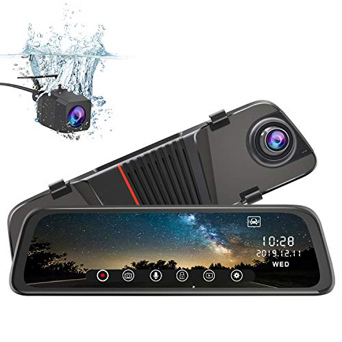 junsun Mirror Dash Cam Front and Rear, 10 Inch Touch Screen Front 1080P Rear View 1080P Dual Lens 170°Wide Angle with Backup Camera G-Sensor Parking Monitor Motion ()