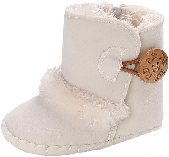 LABIUO Bottes de Neige B/éb/é Filles Chaussures Premiers Pas Chaud Hiver Chaussons Semelle Souple Anti-d/érapante Chaussures B/éb/é Chaussures de Coton pour 0-18 Mois