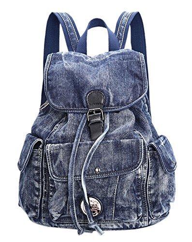 SAIERLONG Women's And Girl's Backpack School Bag Travel Bag blue jean