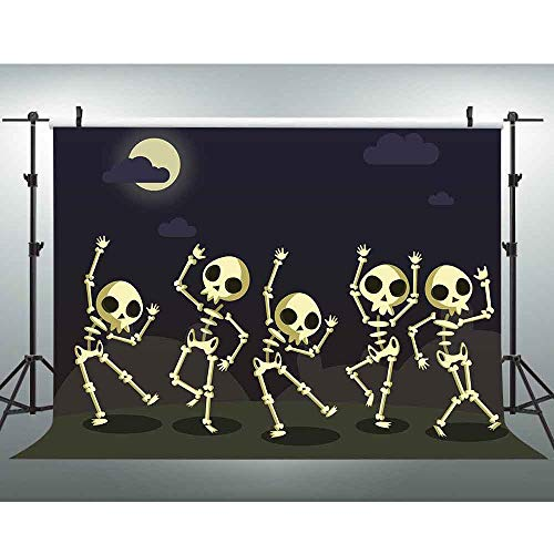VVM 7x5ft Backdrop Dark Night Dancing Skeletons Photography Background Cartoon Style Halloween Decorations Photo Shoot Props MVV108 -
