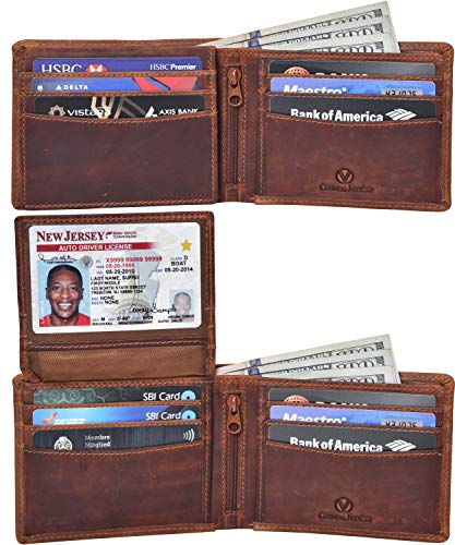 Valenchi - RFID Genuine Leather Bifold Wallet with Flap for Men and Women with multi card slots, 2 Note pocket coin pocket and ID window (Cognac Vintage)