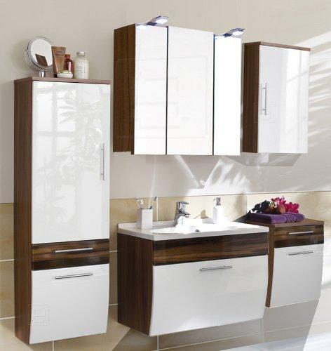5tlg Badezimmer in Hochglanz weiß - Walnuss Softclose LED Spiegelschrank