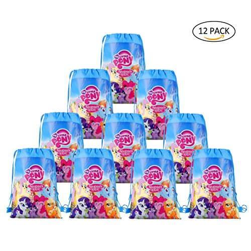My little Pony Bags Party Treat Drawstring Bags for Kids Birthday Party, 12 Pack (Blue)