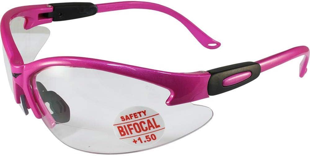 Global Vision Cougar Bifocal Safety Glasses Hot Pink Frame Clear 1.5x Magnification Lens ANSI Z87.1
