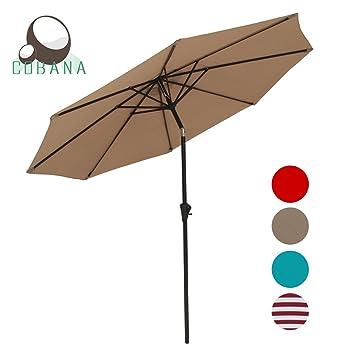 COBANA Patio Table Market Umbrella With Push Button Tilt And Crank 8 Steel  Ribs Beige