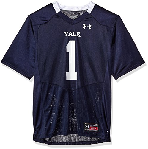 (Under Armour NCAA Yale Bulldogs #1 Men's Official Sideline Jersey, Large, Navy)
