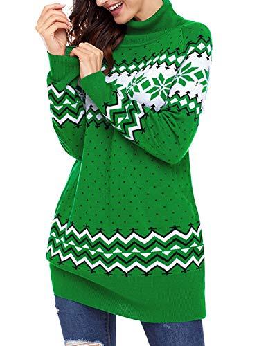 Di Da Maniche Natale Lunghe Sciolti Pullover Maglione Mallty Red Stampa A Collo Alto Con Donna pRC7vxWn