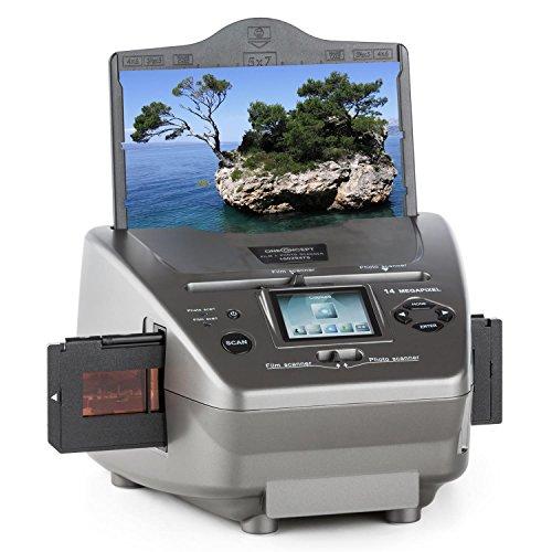 oneConcept 979GY Combo Film-Foto-Scanner Multi-Scanner 14 MP CMOS-Sensor für Dias | Fotos | Negative (inkl. Bildbearbeitungs-Software, 6 cm (2,4