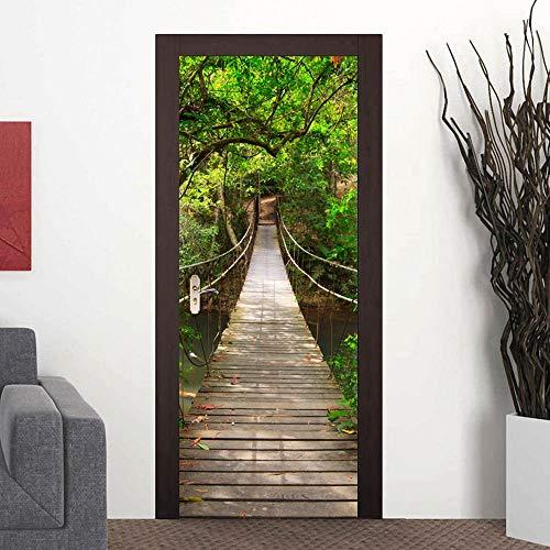 (3D Door Mural Wallpaper Stickers Self-Adhesive Wall Mural Door Stickers Decor Removable Wallpaper Vinyl Wall Stickers Door Decal for Home Room Decoration(Forest Bridge))